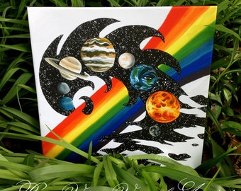 "Ltd Edition canvas print // ""Earth Night of Rainbow Love & Light"""
