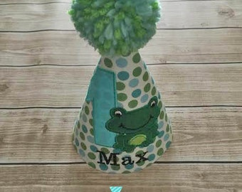 Frog Baby Boy First Birthday Party Hat