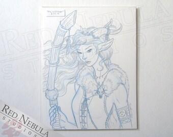 8.5x11 Lady Faun Drawing, Original Fantasy Sketch, Graphite Drawing, Faun Woman, Female Nature Spirit, Female Faun Portrait, Original Art