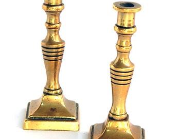 Pair of Miniature Vintage Brass Candlesticks
