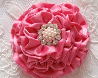 Handmade Ribbon Flower With Rhinestone  (3 inches) In Hot Pink MY-314-017 Ready To Ship