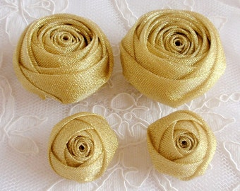 4 Handmade Ribbon Rolled Roses (2 inches,1-1/4 inch) in Gold  MY-329-01 Ready To Ship