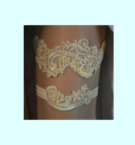Champagne / Gold Lace Wedding Garter Unique By