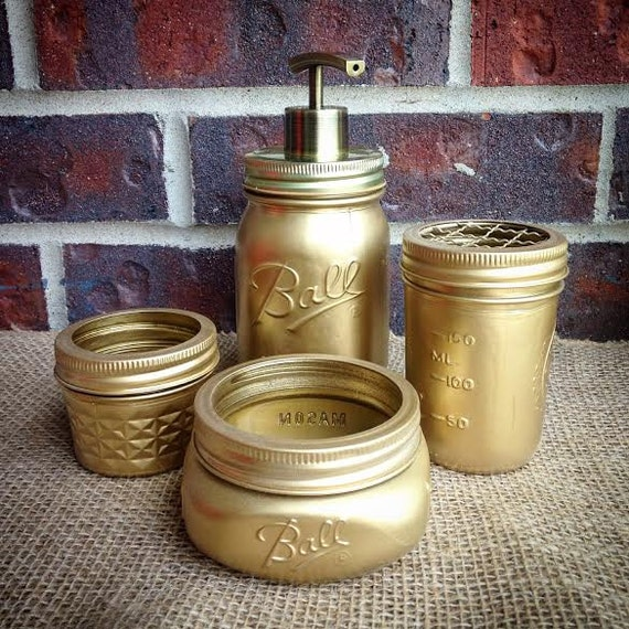 Bathroom accessories mason jar bathroom set by thecrownedlily for Bathroom decor mason jars