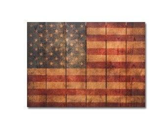 33x24 Rustic American Flag on cedar. Indoor and Outdoor Decor. Wall Hanging Art. Patriot Art. (TP3324)