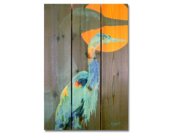 16x24 Great Blue Heron on Cedar, Colorful Watercolor Bird, Indoor and Outdoor Decor, Wall Decor, Wall Hanging Art. (DCGB1624)