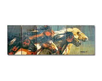 "32x11 Painted Horses ""Night Raid""  on Cedar, Indoor and Outdoor Decor, Wall Decor, Wall Hanging Art. (DBNR3211)"