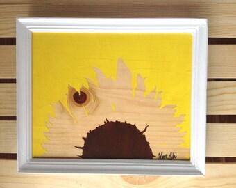"""Sunflower Art Print, Wood Wall Art, Framed Flower Art, 5""""x7"""""""