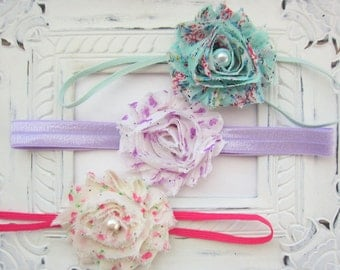 Vintage Baby Headbands - Set of 3 Shabby Chic Baby Headbands - Baby Girl Headband, Newborn Girl Headband