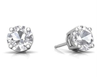 14Kt White Gold White Topaz Round Stud Earrings