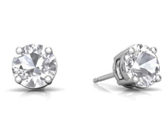 14Kt White Gold White Sapphire Round Stud Earrings