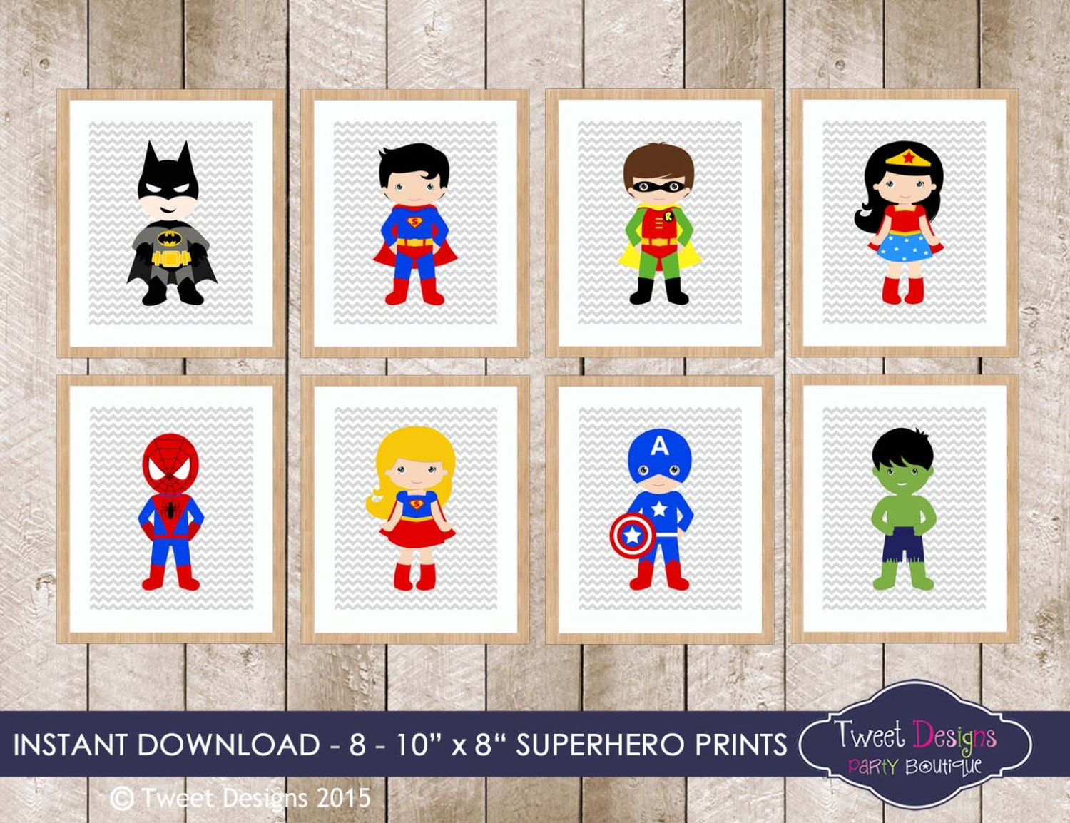 superhero wall art decorations instant download superhero. Black Bedroom Furniture Sets. Home Design Ideas