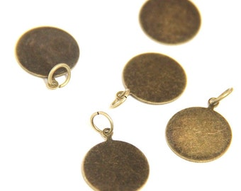 12 pcs of brass tag bail with jump ring 15mm antique bronze-1501