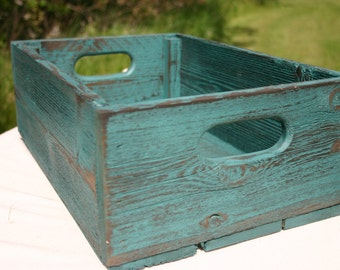 Handmade Reclaimed Wood Crate - Turquoise - Distressed Barnwood Storage Crate