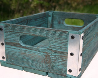 Handmade Reclaimed Wood Crate   Turquoise With Silver Metal Corners    Distressed Barnwood Storage Crate