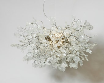 Hanging Chandeliers with transparent clear leaves and flowers for Dinning Room, Bedroom, living room or office.
