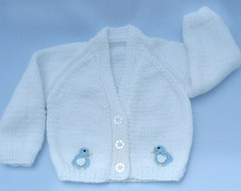 Baby sweater. Baby hand knitted white cardigan to fit  0-3 months