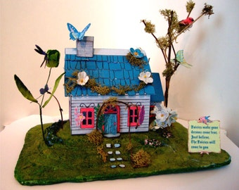 Dollhouse, Fairy House, Miniature dollhouse,Easy. Printable Box Charming Fairy Cottages garden faerie gnome & elf houses lighted