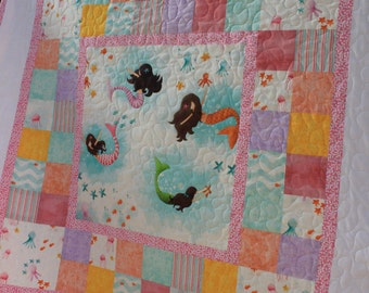Custom Pink Mermaid Baby Girl Quilt with Stuffed Starfish Toy // Baby Gift // Gifts for Babies