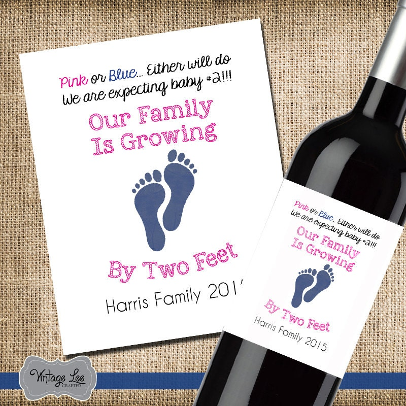 Pregnancy Announcement Baby Announcement Wine Bottle Label – Grandparents Announcement Baby
