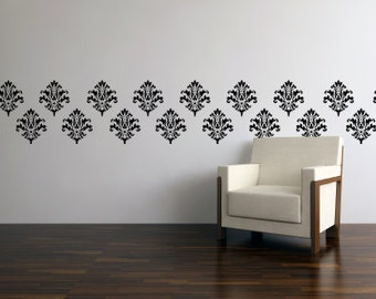 Wallpaper Stickers Set of 15 - Vinyl Wall Paper - Damask Wall Decal - Vinyl Damask 0008