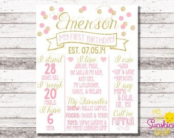 Pink and Gold Birthday Poster | 1st 2nd Birthday | Milestone | Matching Invite | Pink Gold Glitter | Girl Birthday | Chalkboard | Photo Prop