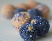 Felt Beads, Extra large Beads, Blue and Peach shades Beads, Felt Balls Felt Beads Felted Balls Wool Beads, Round