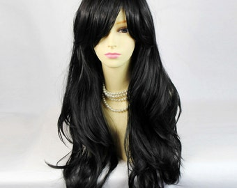 Watch Out Cosplay Long Wavy Wig Black Ladies Wigs from WIWIGS.