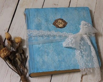 Dusty blue vintage style wedding photo album,   12x12 inch scrapbook album   photo booth wedding guest book   Made to order