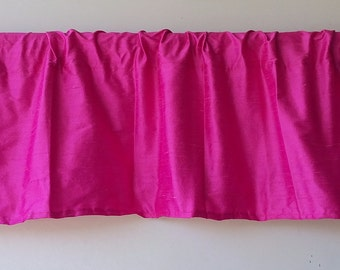 Hot pink dupioni silk valance with pillow sham options