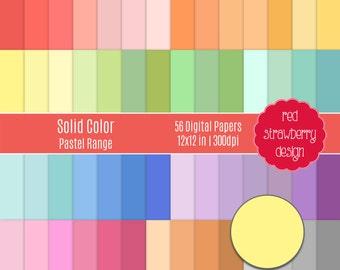 75% OFF Sale - 56 Digital Papers - Solid Colour Pastel Range - Instant Download - JPG 12x12 (DP245)
