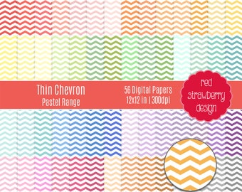 75% OFF Sale - 56 Digital Papers - Thin Chevron Pastel Range - Instant Download - JPG 12x12 (DP248)