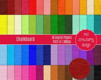 75% OFF Sale - 56 Digital Papers - Chalkboard - Instant Download - JPG 12x12 (DP233)