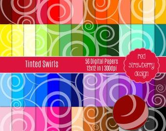75% OFF Sale - 56 Digital Papers - Tinted Swirls - Instant Download - JPG 12x12 (DP229)