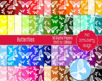 75% OFF Sale - 56 Digital Papers - Butterflies - Instant Download - JPG 12x12 (DP270)
