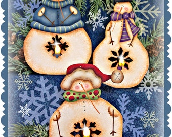 CC150 - Snowie Twinkles Tea Light Ornaments Painting E Pattern By Cyndi Combs