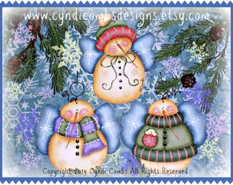 CC167 - Sweet Snowie Angels - Painting E Pattern by Cyndi Combs