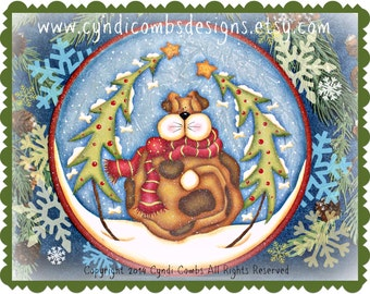 CC172 - Wynter Woofer Plate Painting E Pattern by Cyndi Combs