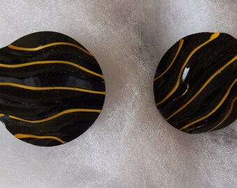 Vintage Earrings Pierced Black Circles with Yellow Stripes CL10-40