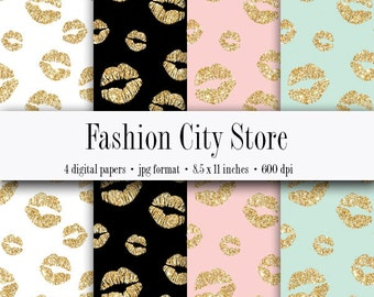 Gold Glitter Lips Digital Paper - Bachelorette Party - 4 Digital Files at 600 dpi - Instant Download - 8.5 x 11 inches