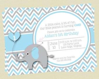 Blue and Gray Elephant Boy Birthday Invitation / Blue and Grey Elephant Invitation / Elephant Printable Invitation DIY Printable File