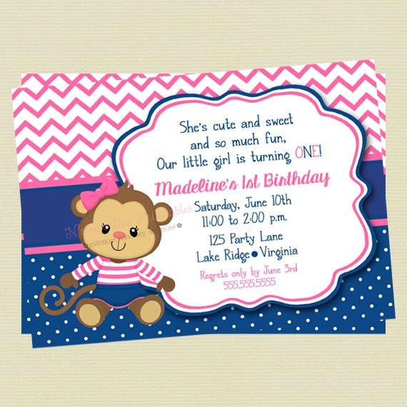 Girl monkey sailor birthday invitationbirthday invitenavy and pink il570xn filmwisefo