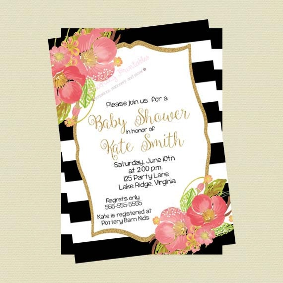 Baby Shower Invitation Floral Black and White Stripes