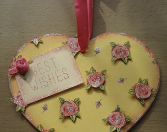 Hand Decorated Plywood 'Best Wishes' Rosebud Heart 12cm **Free P&P**