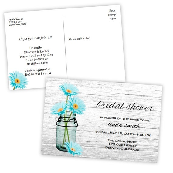 Bridal shower invitation postcard country daisies in a mason for Microsoft word 4x6 postcard template