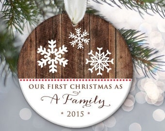 New Parents Ornament Our first Christmas as a Family Personalized Christmas Ornament Family Ornament Snowflake Christmas Gift OR315