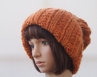 Extra large Knitted Slouchy Pumpkin Beanie hat, Oversized knitted Beanie hat, Chunky knit slouchy hat, winter hat