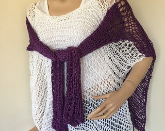 Purple and white multifunctional knitted blouse-poncho