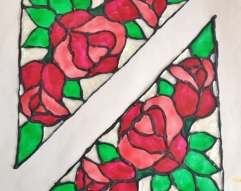 """Faux Stained Glass Corner Set: """"Roses"""""""