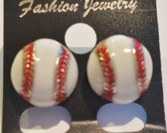 Baseball Charm Epoxy Painted Red & White Earrings